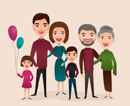 grandchildren: Big happy family isolated vector illustration. Mother, father, grandparents, children, parents, son, daughter cartoon characters. Family generations standing together, senior couple with grandchildren Illustration