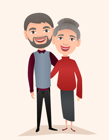 Happy middle aged couple isolated vector illustration. Smiling grandfather and grandmother cartoon characters. Happy old people portrait, cheerful elderly family standing together, senior couple. Illustration