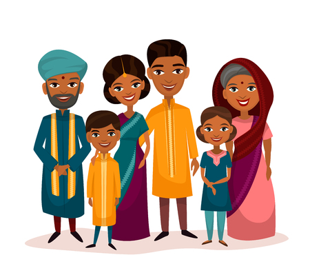 grandchildren: Big happy indian family in national dress isolated vector illustration. Parents, grandparents and children cartoon characters. Family generations standing together, senior couple with grandchildren