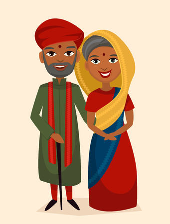 middle aged: Happy indian middle aged couple in national dress isolated vector illustration. Smiling grandfather, grandmother characters. Happy old people portrait, elderly family standing together, senior couple. Illustration