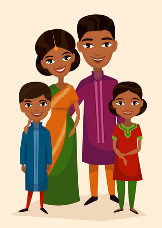 indian happy family: Happy indian family couple with children isolated vector illustration. Husband, wife, daughter and son in national dress. Smiling young people portrait, big happy family with kids standing together.