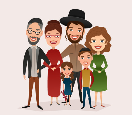 Big happy jewish family isolated vector illustration. Mother, father, grandparents, children, son, daughter cartoon characters. Family generations standing together, senior couple with grandchildren