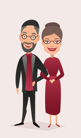 middle aged: Happy jewish middle aged couple isolated vector illustration. Smiling grandfather and grandmother characters. Happy old people portrait, cheerful elderly family standing together, senior couple.