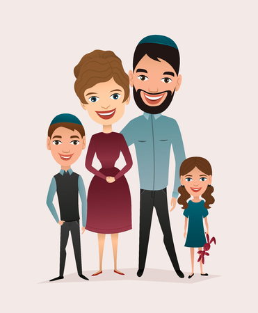 Happy jewish family couple with children isolated vector illustration. Husband, wife, daughter and son cartoon characters. Smiling young people portrait, big happy family with kids standing together. Illusztráció