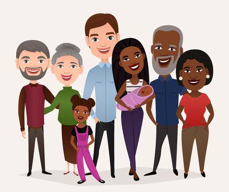 Big happy family cartoon concept