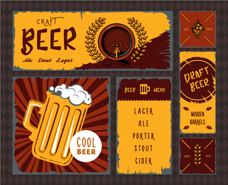banner craft: Vintage craft beer vector banner set