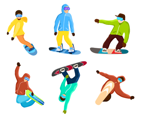 Snowboarder doing extreme tricks set Illustration