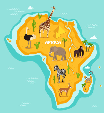 African animals wildlife vector illustration. African fauna, ostrich, giraffe, elephant, monkey, zebra, lemur, antelope in cartoon style. African continent in blue ocean with wild animals and plants Illustration