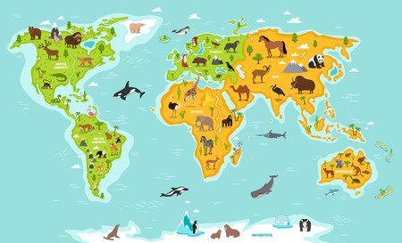 World map with wildlife animals vector illustration. Animals planet concept, world continents with flora and fauna. Giraffe, elephant, monkey, zebra, bear, turtle, whale, walrus, penguin, lynx, panda Illustration