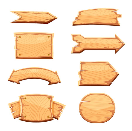 Wooden label set isolated on white background vector illustration. Various shapes wooden sign board for sale, price, discount sticker, banner, badge. Cartoon wooden pointer retro style collection