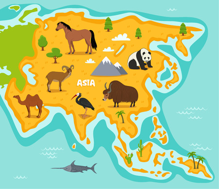 Asian map with wildlife animals vector illustration. Cartoon flora and fauna, horse, panda, yak, camel, ibis, urial in cartoon style. Asian continent in ocean with wild animals, mountains and plants