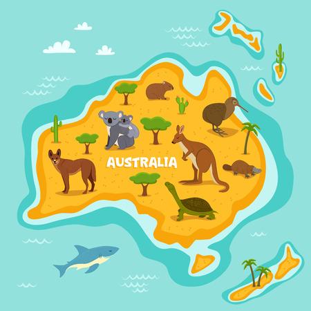 Australian map with wildlife animals vector illustration. Cartoon flora and fauna, koala, kangaroo, turtle, platypus, kiwi, dingo, shark. Australian continent in ocean with wild animals and plants