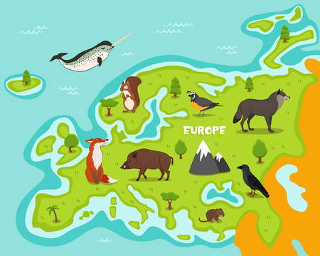 European map with wildlife animals vector illustration. Cartoon flora and fauna, squirrel, wolf, crow, fox, wild boar, vole, quail in cartoon style. European continent in blue ocean with wild animals Иллюстрация