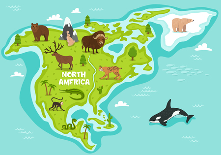 North american map with wildlife animals vector illustration. Cartoon flora and fauna, monkey, alligator, bear, lynx, bison, snake, deer, whale. North american continent in cean with wild animals.
