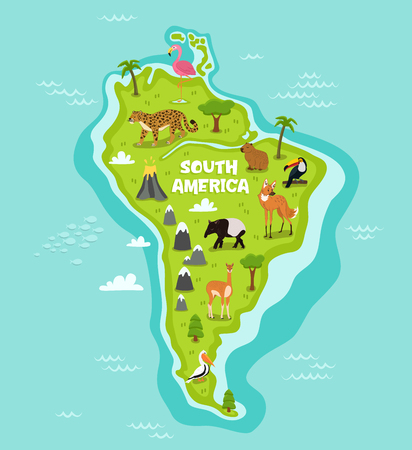 South american map with wildlife animals vector illustration. Cartoon flora and fauna, wolf, lama, tapir, pelican, flamingo, toucan, jaguar. South american continent in blue ocean with wild animals