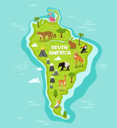 mapa suramericano con la ilustración del vector de animales de la fauna. la flora y la fauna de dibujos animados, lobo, lama, tapir, pelícano, flamencos, tucanes, jaguares. continente de América del Sur en el océano azul con animales salvajes