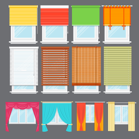 Detailed window set isolated vector illustration. Architectural details, window treatments, interior elements. Cartoon curtains, jalousie, drapery, shades, blinds collection in flat style