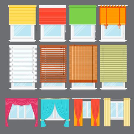 Gedetailleerde vensterreeks geïsoleerde vectorillustratie. Architectonische details, raambekleding, interieurelementen. Cartoon gordijnen, jaloezieën, gordijnen, tinten, jaloezieën collectie in vlakke stijl