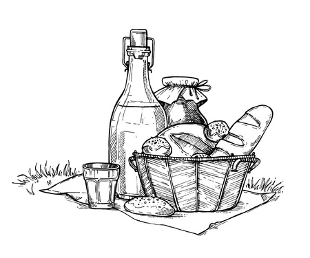 homemade bread: Farm food set freehand pencil drawing isolated on white background vector illustration. Bottle with milk and fresh homemade bread in basket. Organic nature product, traditional picnic, healthy food.