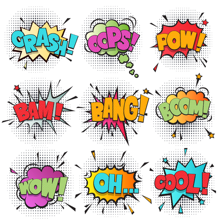 pow: Comic speech bubble cartoon set isolated on white background vector illustration. Sound effects: pow, oh, boom, bang, wow, bam, cool, crash, oops. Comic sound speech bubble in pop art style collection