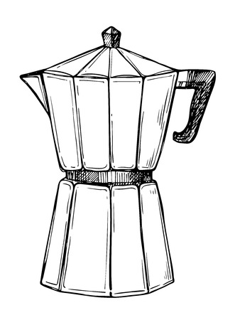 Traditional coffee maker freehand pencil drawing isolated on white background vector illustration. Cafe or restaurant menu design. Retro manual coffee maker, espresso pot sketch in vintage style.