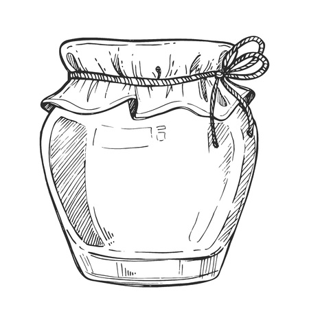 Mason jar freehand pencil drawing isolated on white background vector illustration. Organic nature farm food icon, traditional product monochrome sketch. Glass jar of jam, honey, butter and other. Иллюстрация