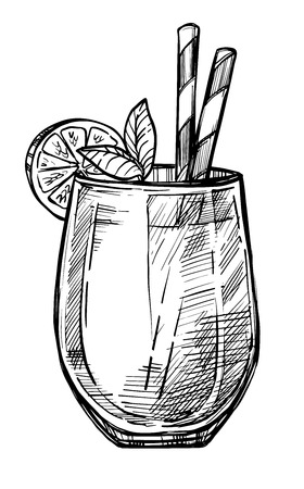 Ejemplo del vector del bosquejo dibujado mano alcohólica del cóctel. Icono de cóctel vintage, bebida fría, dibujo a lápiz de bebidas para el menú de la barra o restaurante. Cóctel de alcohol en vidrio aislado sobre fondo blanco.