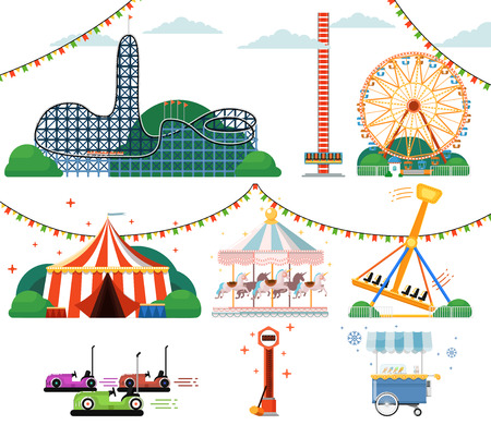 Amusement park with attractions set isolated vector illustration. Ferris wheel, striped circus tent, roller coaster, carousel, bumper car, swing, ice cream cart. Vacation and fun in amusement park.