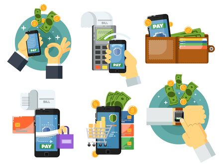 Mobile payment set isolated vector illustration. POS terminal confirm, NFC payment, money transferring via smartphone app, online banking and shopping, e-commerce. Mobile payment service collection. Stock Vector - 69374785