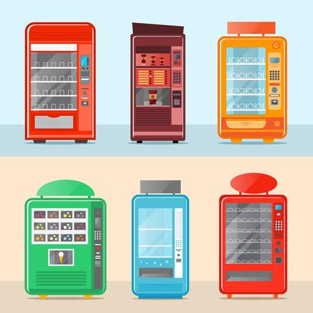 자동 판매기 격리 된 벡터 일러스트 레이 션을 설정합니다. 차가운 음료, 스낵, 칩, 패스트 푸드, 커피 및 아이스크림 자동 판매기. 평면 디자인의 빈 선반과 다채로운 자판기 전면보기