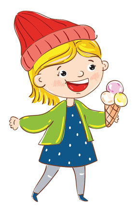 Happy girl cartoon character isolated on white background vector illustration. Cute young woman with ice cream, having fun active girl, playing happy people. Hand drawn funny young girl in blue dress Illustration