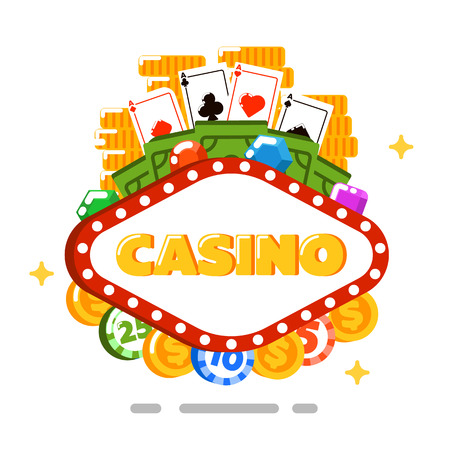 fortune concept: Casino concept isolated on white background vector illustration. Poker club design with playing cards, gambling chips and money in flat style. Casino banner for game of chance, fortune entertainment
