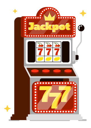 Casino concept isolated on white background vector illustration. Gambling house design with casino slot machine in flat style. Casino banner for game of chance, 777 big win, fortune entertainment
