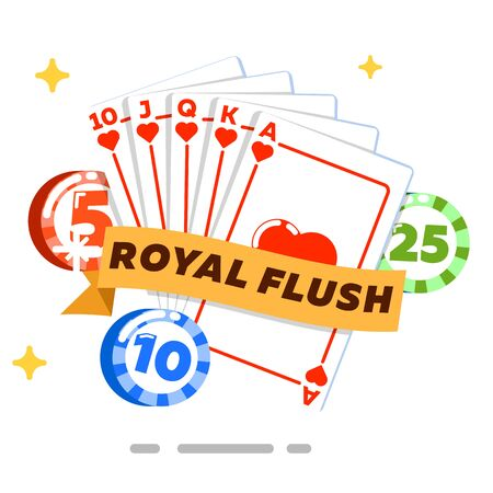 fortune concept: Poker concept isolated on white background vector illustration. Casino banner for game of chance and fortune. Royal flush set, poker club design with playing cards and gambling chips in flat style.
