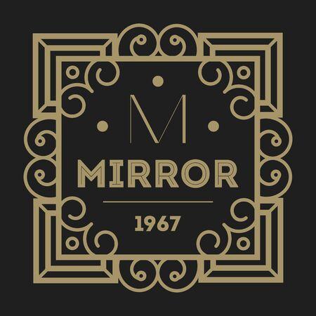 talisman: Geometric monogram vintage abstract logo isolated vector illustration. Talisman, mirror, harmony, waves brand. Luxury insignia logo vector. Monogram emblem insignia template