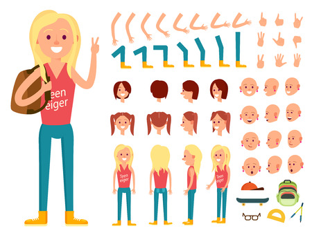 Teenager female character creation set vector illustration. Girl constructor with various gesture, emotion on face, hand, leg, pose, hairstyle. Front, side, back view animated teenager with backpack
