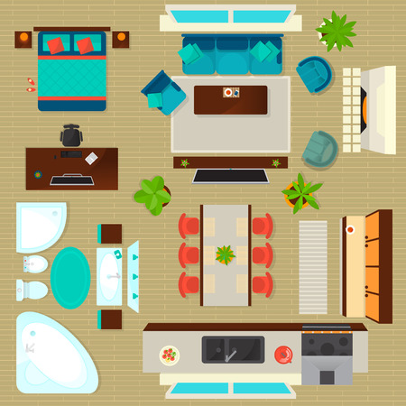 Top view apartment interior set isolated vector illustration. Living room, bedroom, kitchen and bathroom furniture design elements. Vettoriali