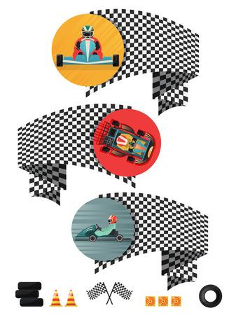 motorizado: Kart racing concepto conjunto con la bandera a cuadros aislado ilustración vectorial.