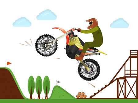 motorcross: Extreme rider jumping freestyle motocross off road enduro sport competition Illustration