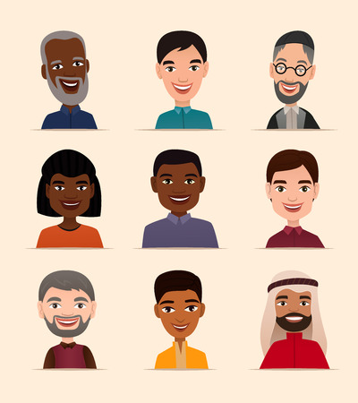 people: Happy people avatar icon set vector illustration. Smiling men of different nationalities, people heads. Multicultural society concept, various ethnic man characters in national dress