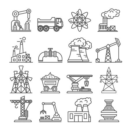 La fábrica del edificio industrial y el conjunto del icono de la central eléctrica aislaron el ejemplo del vector. Generación de energía alternativa, construcción de fábricas, fabricación nuclear, producción de petróleo y gas, pictogramas lineales.