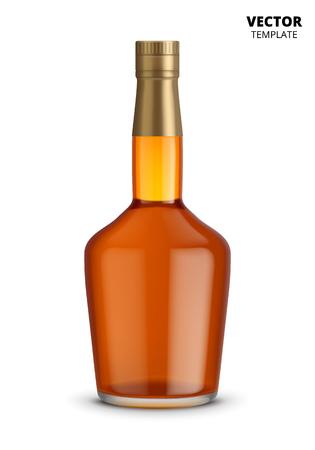 bourbon whisky: Glass bottle mockup for design presentation ads. Illustration