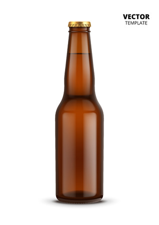 Beer bottle glass mockup vector isolated on white background. Glass bottle mockup for design presentation ads.