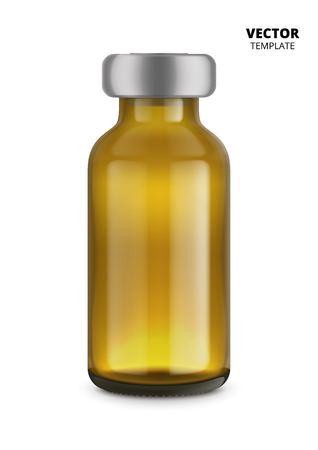 Medical glass bottle mockup for design presentation ads.