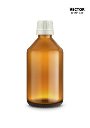 Medical bottle isolated on white background. Glass bottle vector mockup for design presentation ads. Vettoriali