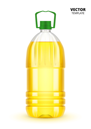 Vegetable oil bottle vector isolated on white background. Plastic bottle mockup for design presentation ads.