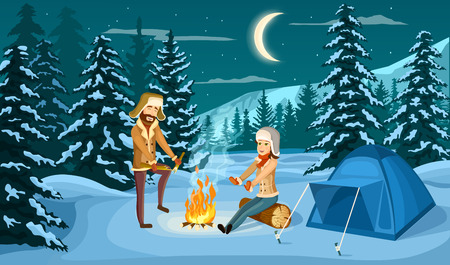 Tourist camp in winter forest at night vector illustration. People sitting near campfire and tourist tent on snowy meadow. Camping and hiking, winter adventure, nature landscape in cartoon style