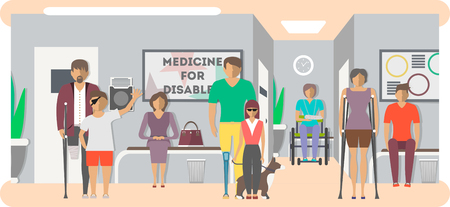 Disabled people in hospital banner in flat style vector illustration. Invalid persons, blind woman, broken arm, people on wheelchair, prosthetic arms and legs. Healthcare assistance and accessibility. Illustration