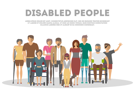 Disabled people banner in flat style vector illustration. Invalid persons, blind woman, broken arm, people on wheelchair, prosthetic arms and legs. Healthcare assistance and accessibility concept. Ilustração