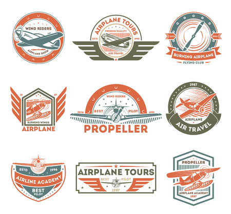 Airplane vintage isolated label set vector illustration. Wind riders show and best pilot symbols. Airplane academy and flying club sign.